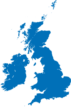 Simplified map of the United Kingdom.