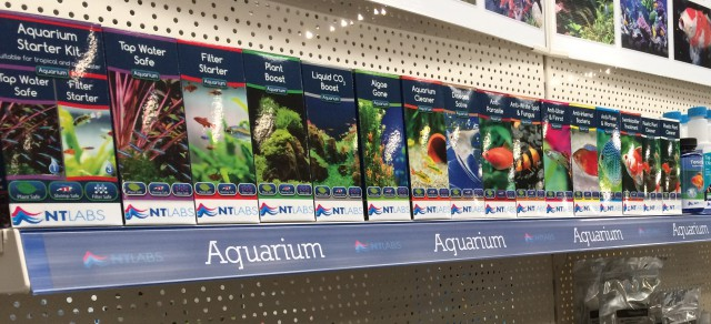 Aquarium range on shelf
